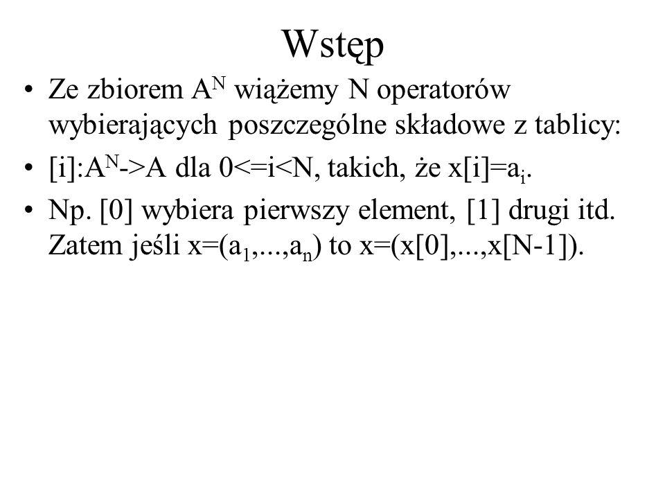 Wstęp Ze zbiorem AN wiążemy N operatorów wybierających poszczególne składowe z tablicy: [i]:AN->A dla 0<=i<N, takich, że x[i]=ai.